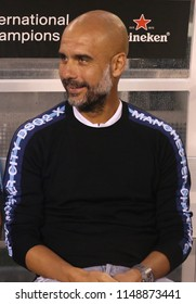 EAST RUTHERFORD, NJ - JULY 25, 2018: Pep Guardiola manager of Manchester City during 2018 International Champions Cup game Manchester City vs Liverpool at MetLife stadium
