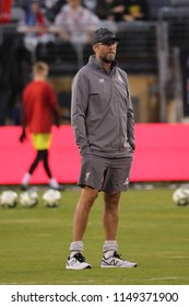 EAST RUTHERFORD, NJ - JULY 25, 2018:  Liverpool FC manager Jurgen Klopp before match against Manchester City during 2018 International Champions Cup game at MetLife stadium