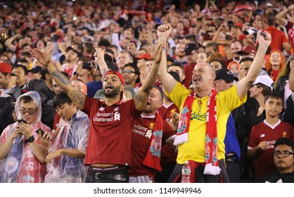 EAST RUTHERFORD, NJ - JULY 25, 2018: Liverpool soccer fans support Liverpool against Manchester City during 2018 International Champions Cup game at MetLife stadium. Liverpool won the match 2:1