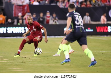 EAST RUTHERFORD, NJ - JULY 25, 2018: Fabinho 3 of Liverpool FC in action against Manchester City during 2018 International Champions Cup game at MetLife stadium