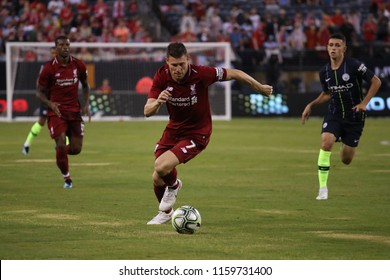 EAST RUTHERFORD, NJ - JULY 25, 2018: James Milner  7 of Liverpool FC in action against Manchester City during 2018 International Champions Cup game at MetLife stadium