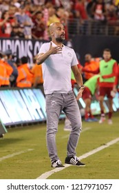 EAST RUTHERFORD, NJ - JULY 25, 2018: Manager of Manchester City Pep Guardiola during match against FC Liverpool during 2018 International Champions Cup game at MetLife stadium