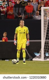 EAST RUTHERFORD, NJ - JULY 25, 2018: Goalkeeper Loris Karius #1 of Liverpool FC in action against Manchester City during 2018 International Champions Cup game at MetLife stadium