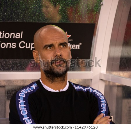 East Rutherford, NJ - July 25, 2018: Pep Guardiola manager of Manchester City attends ICC game against Liverpool FC at MetLife stadium Liverpool won 2 - 1