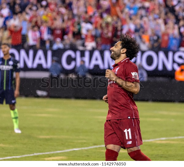 East Rutherford, NJ - July 25, 2018: Mohammed Salah (11) of Liverpool FC celebrates scoring goal during ICC game against Manchester City at MetLife stadium Liverpool won 2 - 1