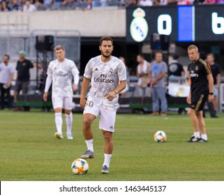 East Rutherford, NJ - July 26, 2019: Eden Hazard (50) of Real Madrid warming up before game against Atletico Madrid as part of ICC tournament at Metlife stadium Atletico won 7 - 3