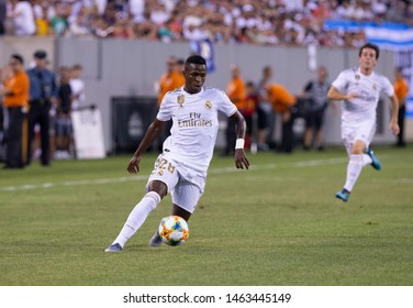 East Rutherford, NJ - July 26, 2019: Vinicius Junior (28) of Real Madrid controls ball during game against Atletico Madrid as part of ICC tournament at Metlife stadium Atletico won 7 - 3