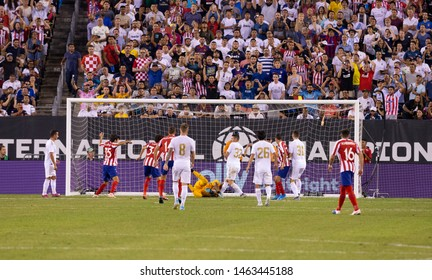 East Rutherford, NJ - July 26, 2019: Keylor Navas (1) of Real Madrid saves during game against Atletico Madrid as part of ICC tournament at Metlife stadium Atletico won 7 - 3