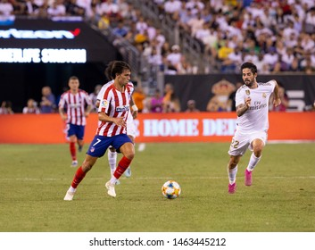 East Rutherford, NJ - July 26, 2019: Joao Felix (7) of Atletico Madrid controls ball game against Real Madrid as part of ICC tournament at Metlife stadium Atletico won 7 - 3