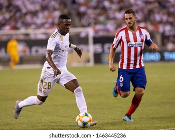 East Rutherford, NJ - July 26, 2019: Vinicius Junior (28) of Atletico Madrid controls ball game against Real Madrid as part of ICC tournament at Metlife stadium Atletico won 7 - 3