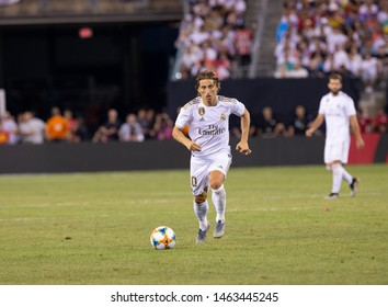 East Rutherford, NJ - July 26, 2019: Luka Modric (10) of Real Madrid controls ball during game against Atletico Madrid as part of ICC tournament at Metlife stadium Atletico won 7 - 3