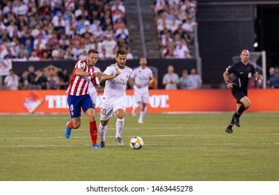 East Rutherford, NJ - July 26, 2019: Eden Hazard (50) of Real Madrid controls ball during game against Atletico Madrid as part of ICC tournament at Metlife stadium Atletico won 7 - 3