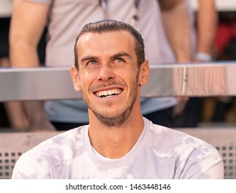 East Rutherford, NJ - July 26, 2019: Gareth Bale (11) of Real Madrid sits on bench during game against Atletico Madrid as part of ICC tournament at Metlife stadium Atletico won 7 - 3