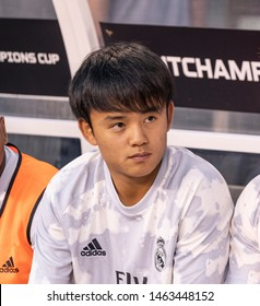 East Rutherford, NJ - July 26, 2019: Takefusa Kubo (26) of Real Madrid sits on bench during game against Atletico Madrid as part of ICC tournament at Metlife stadium Atletico won 7 - 3