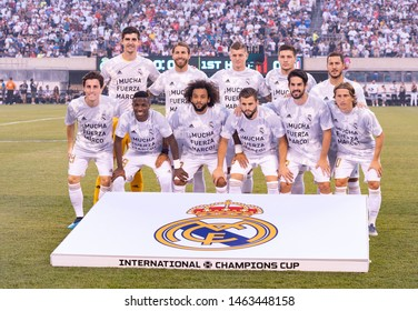 East Rutherford, NJ - July 26, 2019: Real Madrid starting eleven pose before game against Atletico Madrid as part of ICC tournament at Metlife stadium Atletico won 7 - 3