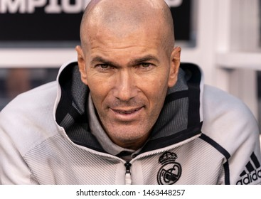 East Rutherford, NJ - July 26, 2019: Real Madrid head coach Zinedine Zidane shown during game against Atletico Madrid as part of ICC tournament at Metlife stadium Atletico won 7 - 3