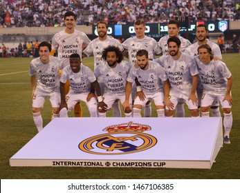 EAST RUTHERFORD, NJ - JULY 26, 2019: Real Madrid line-up against Atletico de Madrid in the 2019 International Champions Cup match at MetLife stadium. Real Madrid lost  3-7