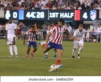 EAST RUTHERFORD, NJ - JULY 26, 2019: Diego Costa of Atletico de Madrid  #19 kicks penalty shot during match against Real Madrid in the 2019 International Champions Cup at MetLife stadium
