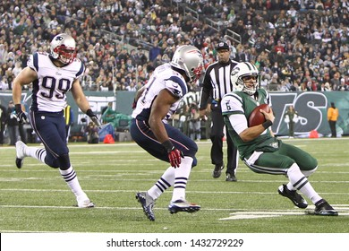 EAST RUTHERFORD, NJ - NOV 22: New York Jets quarterback Mark Sanchez (6) runs with the ball against the New England Patriots at MetLife Stadium on November 22, 2012.