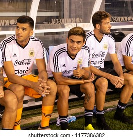 East Rutherford, NJ - September 11, 2018: Paulo Dybala (21) of Argentina sits on bench before friendly match against Colombia at MetLife Stadium