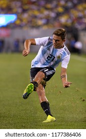East Rutherford, NJ - September 11, 2018: Paulo Dybala (21) of Argentina kicks ball during friendly match against Colombia at MetLife Stadium