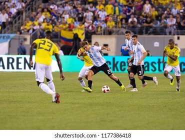 East Rutherford, NJ - September 11, 2018: Paulo Dybala (21) of Argentina controls ball during friendly match against Colombia at MetLife Stadium