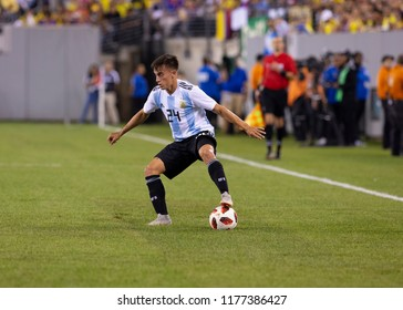 East Rutherford, NJ - September 11, 2018: Franco Cervi (24) of Argentina controls ball during friendly match against Colombia at MetLife Stadium