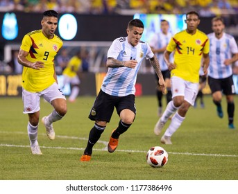 East Rutherford, NJ - September 11, 2018: Fabricio Bustos (4) of Argentina controls ball during friendly match against Colombia at MetLife Stadium