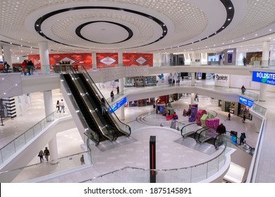EAST RUTHERFORD, NJ, USA - December 11, 2020: Interior of the American Dream Mall at 1 American Dream Way. Editorial use only.