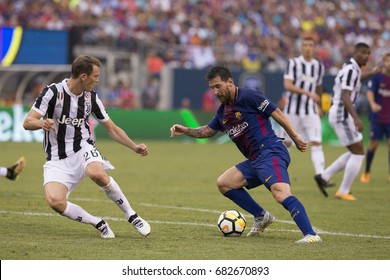 East Rutherford, NJ USA - July 22, 2017: Lionel Messi (10) of Barcelona controls ball during International Champions Cup game against Juventus on MetLife stadium Barcelona won 2 - 1