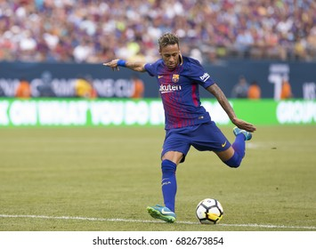East Rutherford, NJ USA - July 22, 2017: Neymar (11) of Barcelona kicks ball during International Champions Cup game against Juventus on MetLife stadium Barcelona won 2 - 1