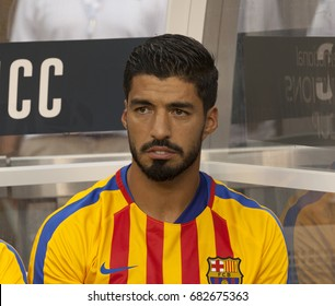 East Rutherford, NJ USA - July 22, 2017: Luis Suarez (9) of Barcelona sits on substitutes bench  during International Champions Cup game against Juventus on MetLife stadium