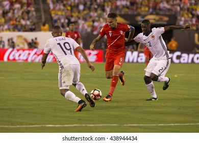 East Rutherford, NJ USA - June 17, 2016: Paolo Guerrera (9) Peru controls ball during quaterfinal game between Columbia & Peru. Columbia won 0 (4) - 0 (2) by penalty kicks