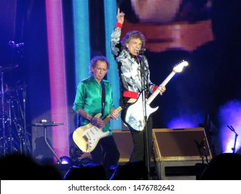 East Rutherford, NJ/USA - August 1, 2019: Mick Jagger and Keith Richards of the Rolling Stones perform at MetLife Stadium on their sold-out No Filter tour.