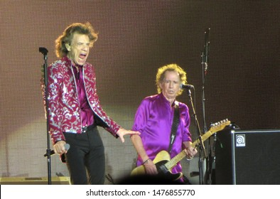 East Rutherford, NJ/USA - August 1, 2019: Singer Mick Jagger and guitarist Keith Richards perform with their band, The Rolling Stones, at MetLife Stadium on their No Filter tour.
