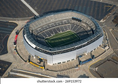 EAST RUTHERFORD,NJ - APRIL 5: Aerial view of Metlife Stadium on April 5th,2015.It is the home of the New York Giants and New York Jets of the NFL and has a capacity of 82566.It opened in april 2010.