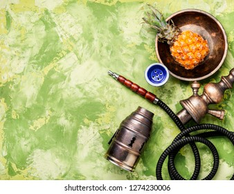 East shisha hookah with aroma pineapple for relax.Pineapple shisha.Smoking hookah.