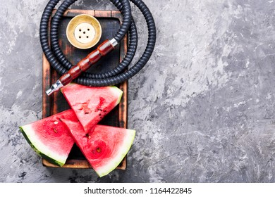 East shisha hookah with aroma watermelon for relax.Watermelon shisha.Smoking hookah.