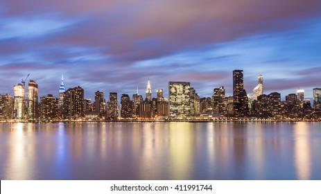East Side (long exposure of the Manhattan Skyline taken from Gantry State Plaza Park, Long Island City)