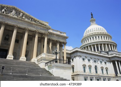 East side view of the United States Capitol building.