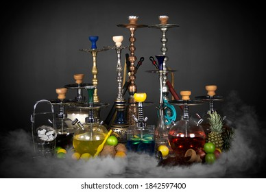 East smoking hookah. Arabian shisha with fruits. Hookah and apple.Trendy hookah