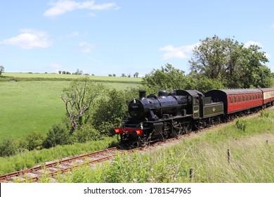 East Somerset Railway, BR Ivatt class 2mt Steam Locomotive near Mendip Vale.