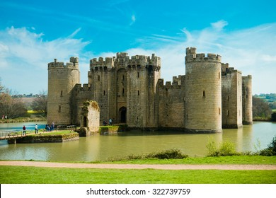 EAST SUSSEX/ENGLAND - April 10, 2014: Bodiam Castle is a 14th-century moated castle near Robertsbridge in East Sussex, England.