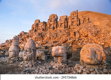 East terrace of Mount Nemrut at sunrise with the head in front of the statues. The UNESCO World Heritage Site at Mount Nemrut where King Antiochus of Commagene is reputedly entombed.