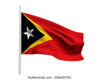 East Timor flag floating in the wind with a White sky background. 3D illustration.