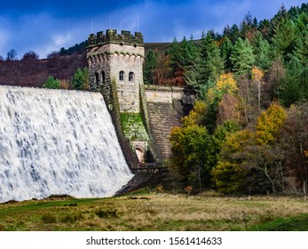 East tower of Derwent Dam in Derbyshire built between 1914 and 1916 it was site of the Dam busters practice raids of 1943