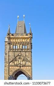 East tower of medieval Charles Bridge in Prague, Czech Republic