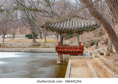 East Village with pagodas in the park and garden of the city of seul Heritatge in winter with ice ponds