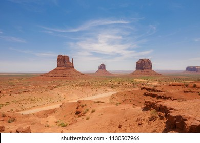 East and West Mitten Buttes, and Merrick Butte in Monument Valley Navajo Tribal Park on the Arizona-Utah border, USA
