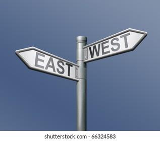 east west road sign on blue background